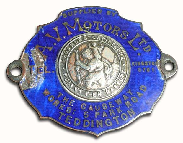 A.V. Motors Ltd. (1923 dashboard silver plaque)