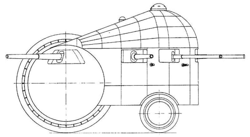 1916. Самоходная артиллерийская установка Навроцкого (проект)