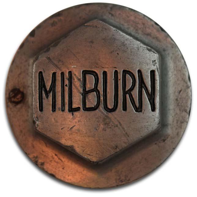 1919. Milburn Wagon Company (electric car wheel hubcap)