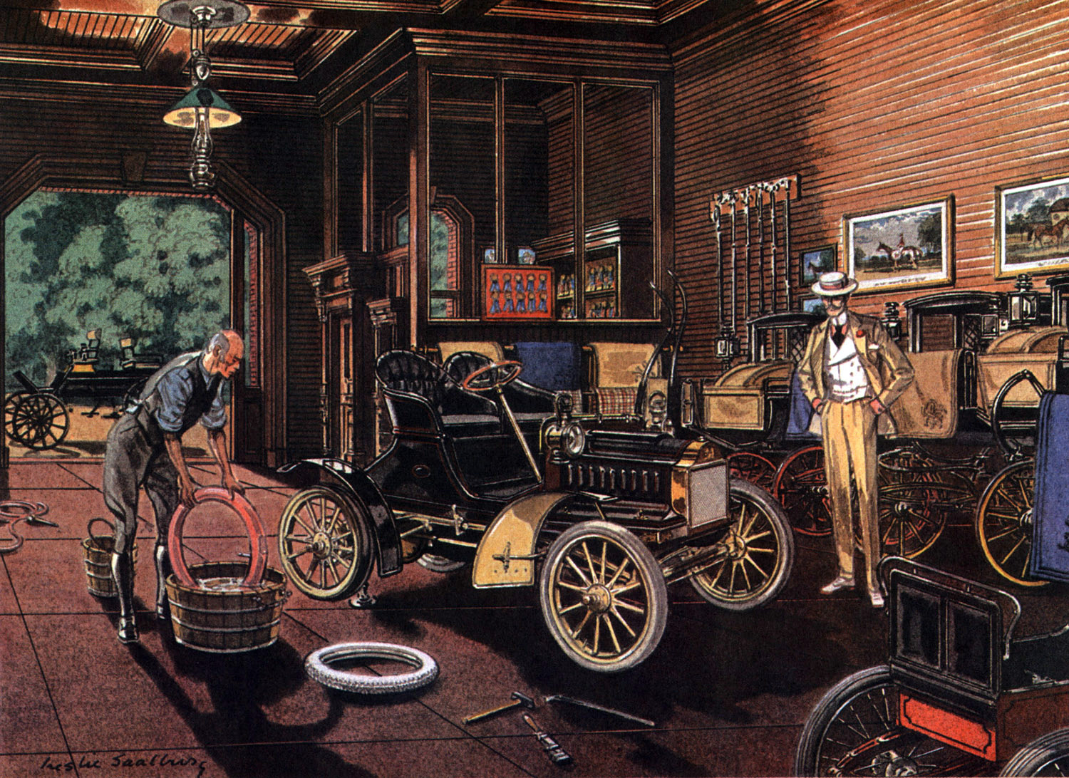1905 Oldsmobile - Illustrated by Leslie Saalburg