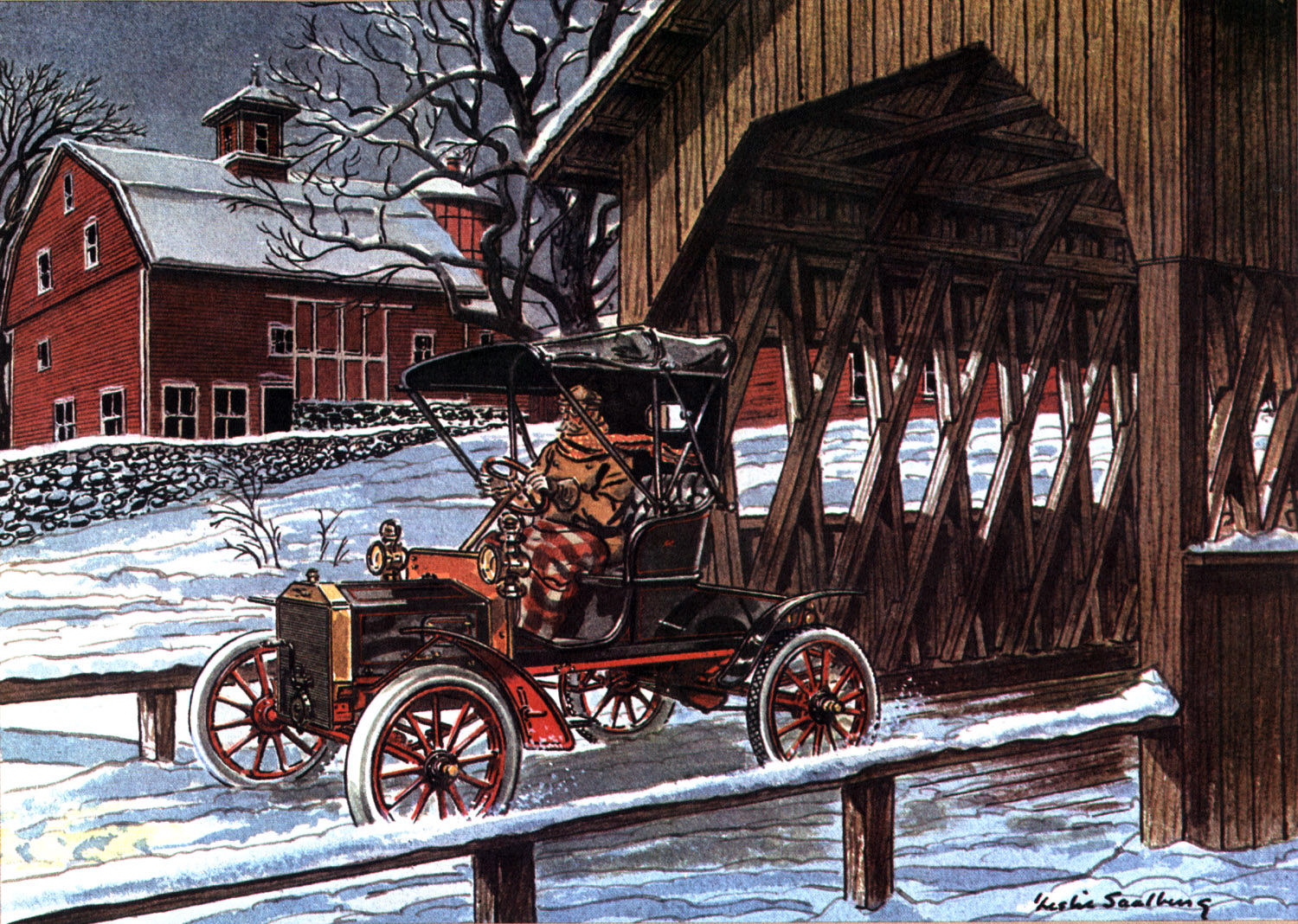 1906 Ford Model N - Illustrated by Leslie Saalburg