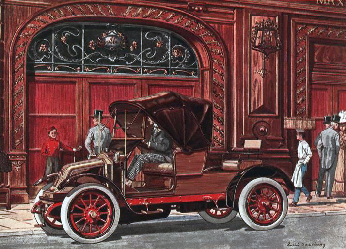 1908 Renault 4 cyl., 14-20 H.P. Victoria Runabout - Illustrated by Leslie Saalburg