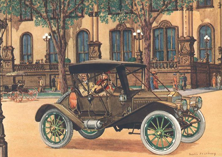 1911 Maxwell 4 cyl., 29 H.P. Roadster - Illustrated by Leslie Saalburg