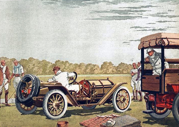 1911 Mercer 4 cyl., 30 H.P. Raceabout - Illustrated by Leslie Saalburg