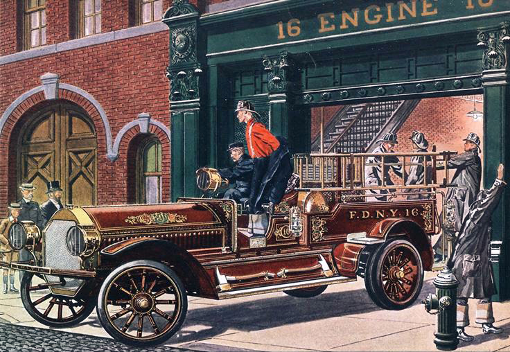 1911 Seagrave 6 cyl., Chemical-Hose Truck - Illustrated by Leslie Saalburg
