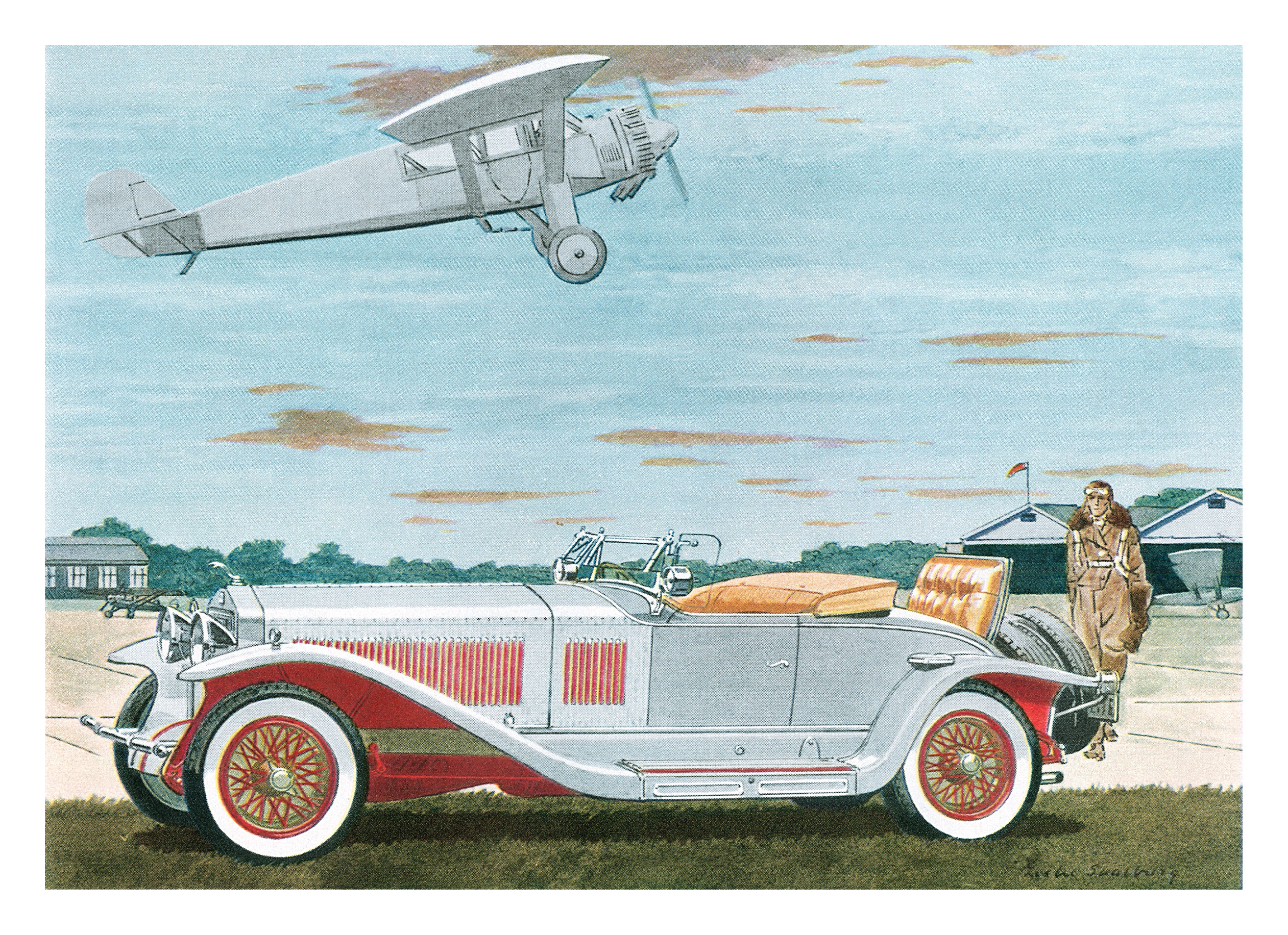 1927 Isotta Fraschini Roadster - Illustrated by Leslie Saalburg