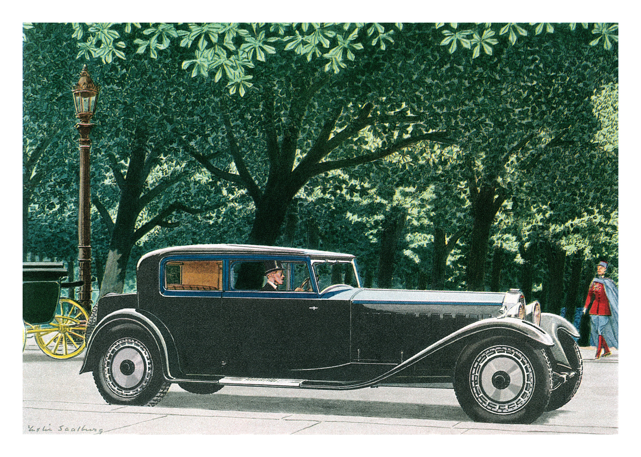 1928 Bugatti Type 41 Royale Coupe body by Kellner - Illustrated by Leslie Saalburg