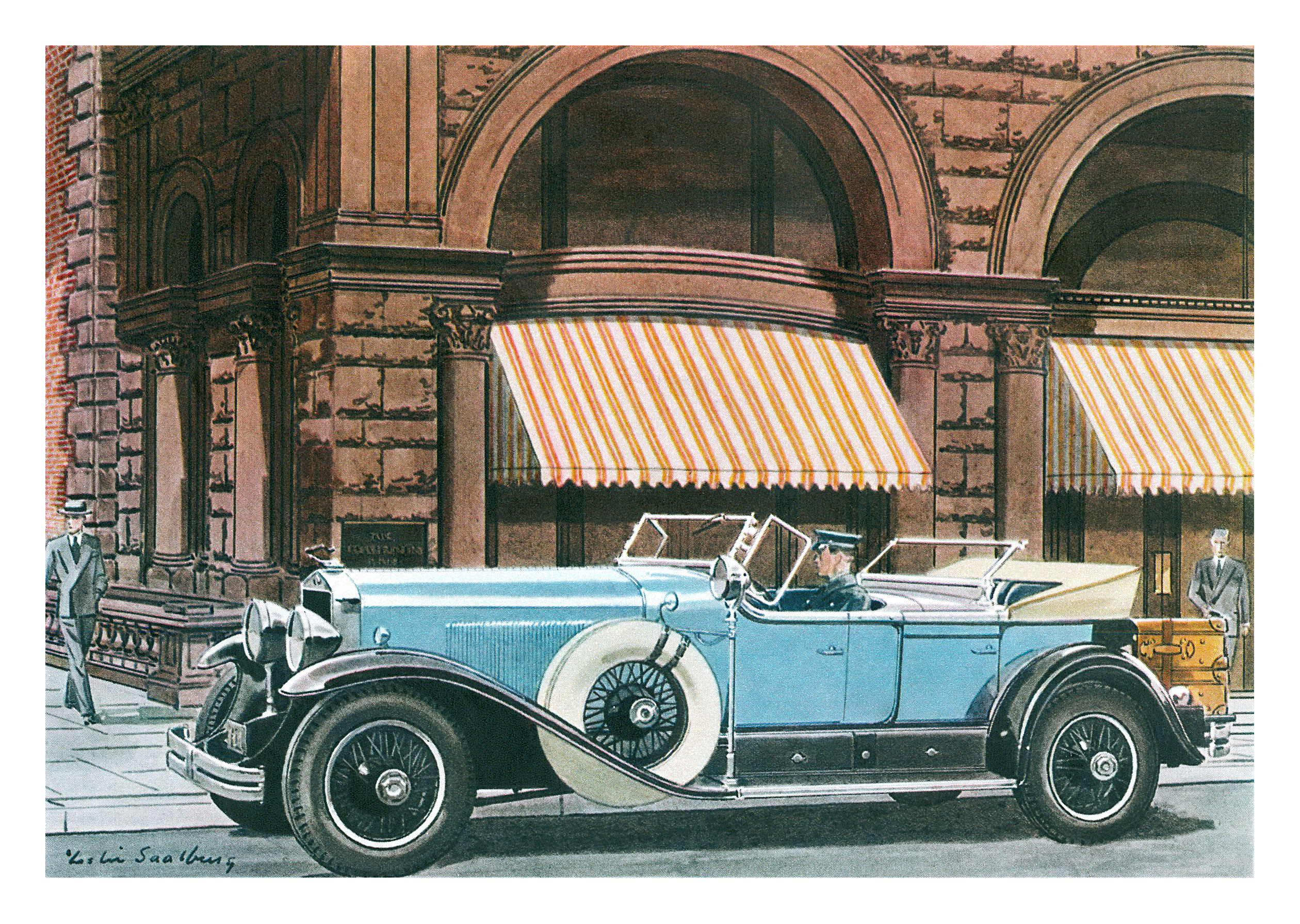 1929 Cadillac Sport Phaeton - Illustrated by Leslie Saalburg