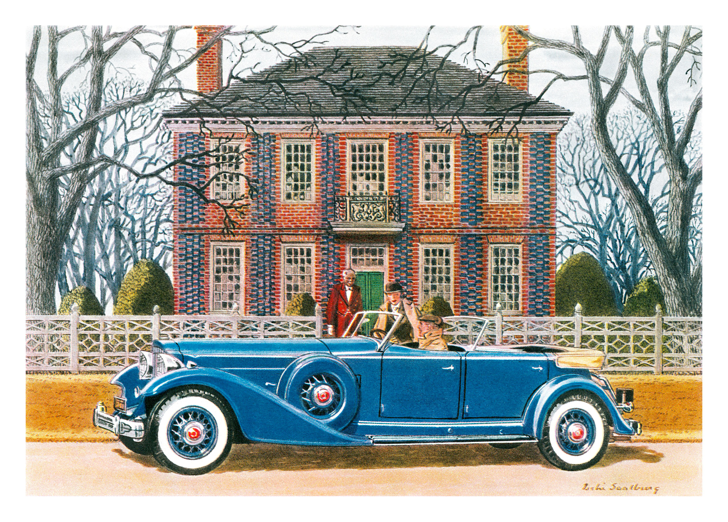 1933 Packard Dual Cowl Phaeton - Illustrated by Leslie Saalburg