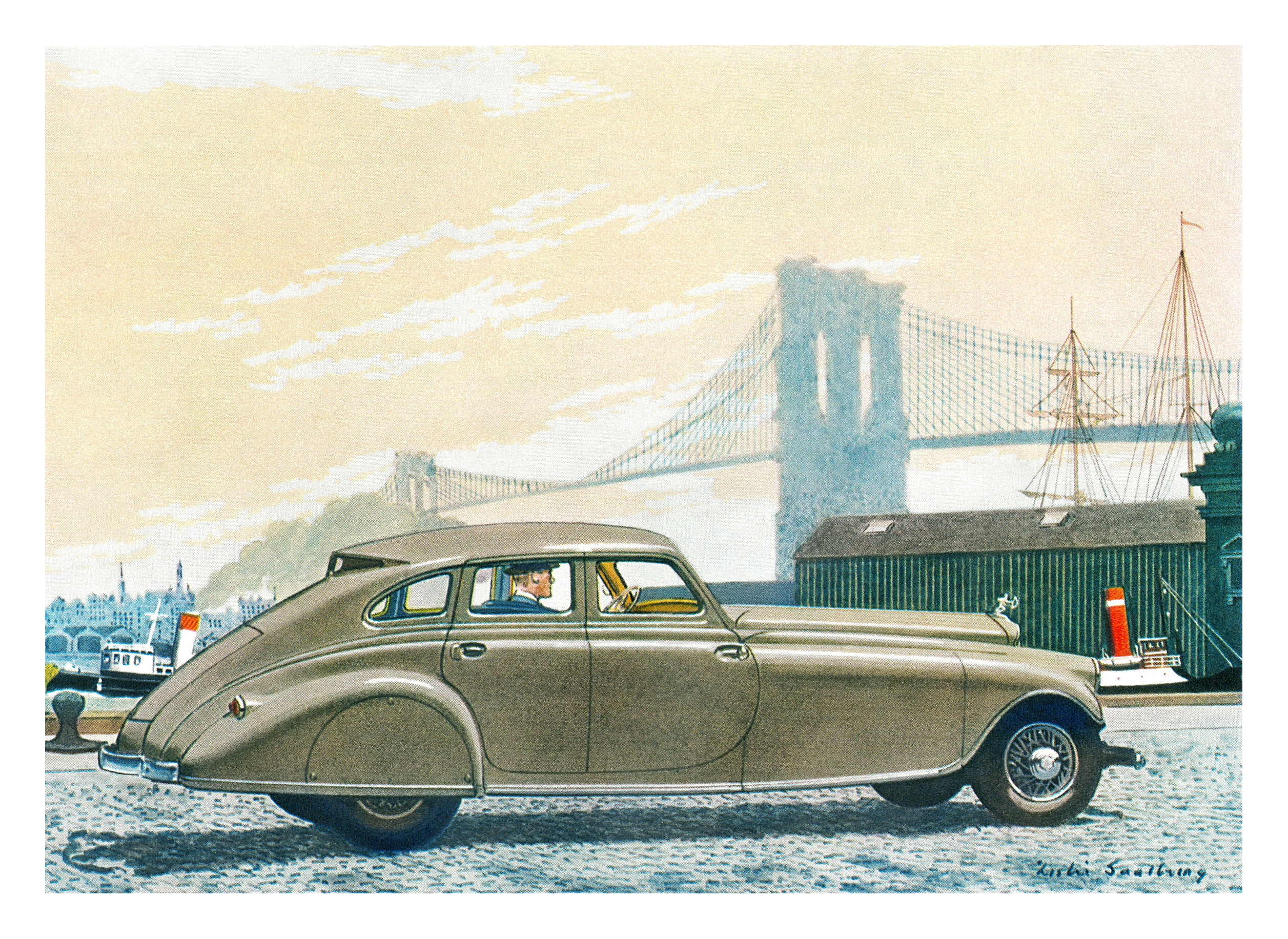 1933 Pierce Silver Arrow - Illustrated by Leslie Saalburg