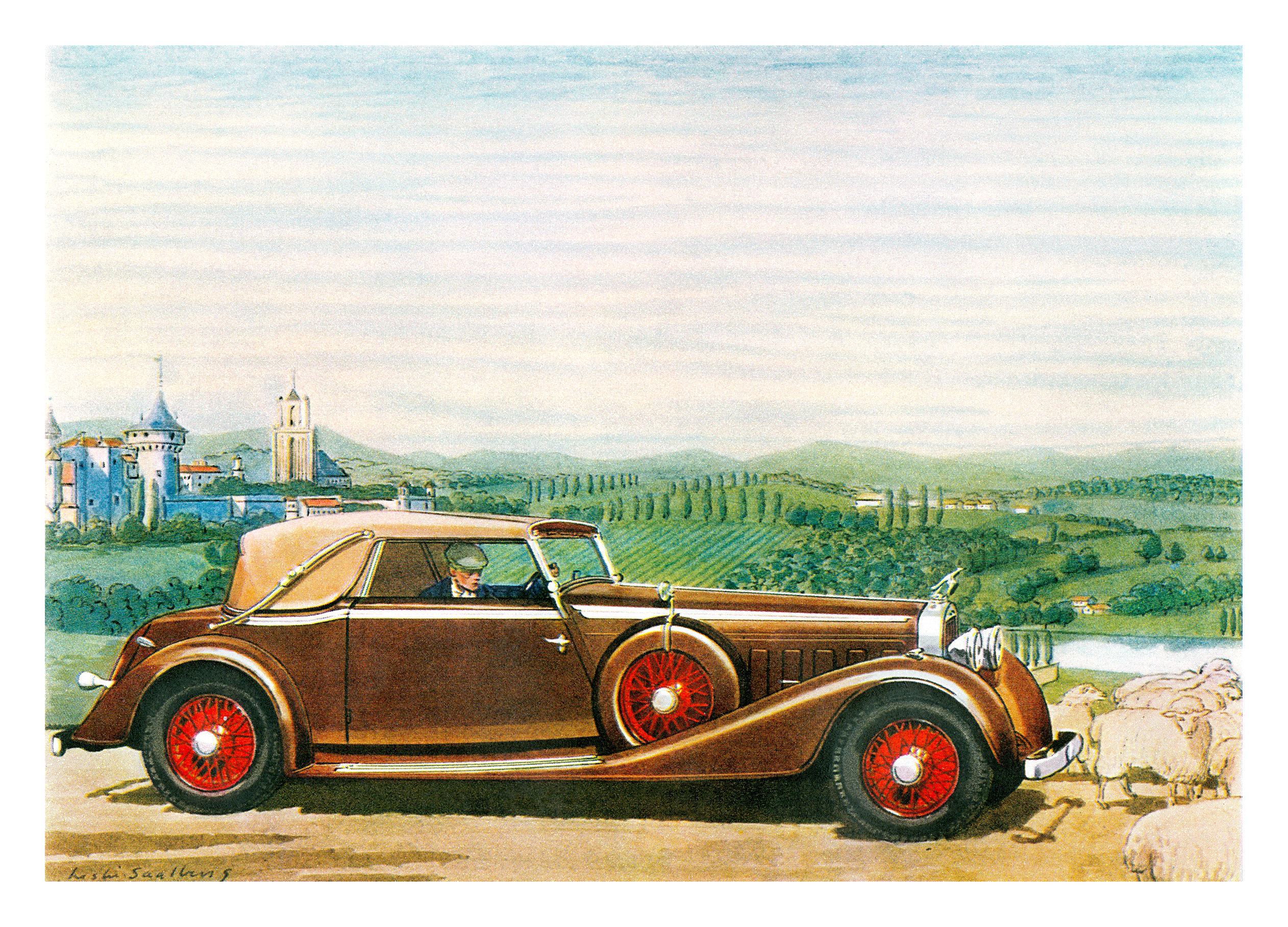 1935 Hispano-Suiza Convertible Coupe - Illustrated by Leslie Saalburg