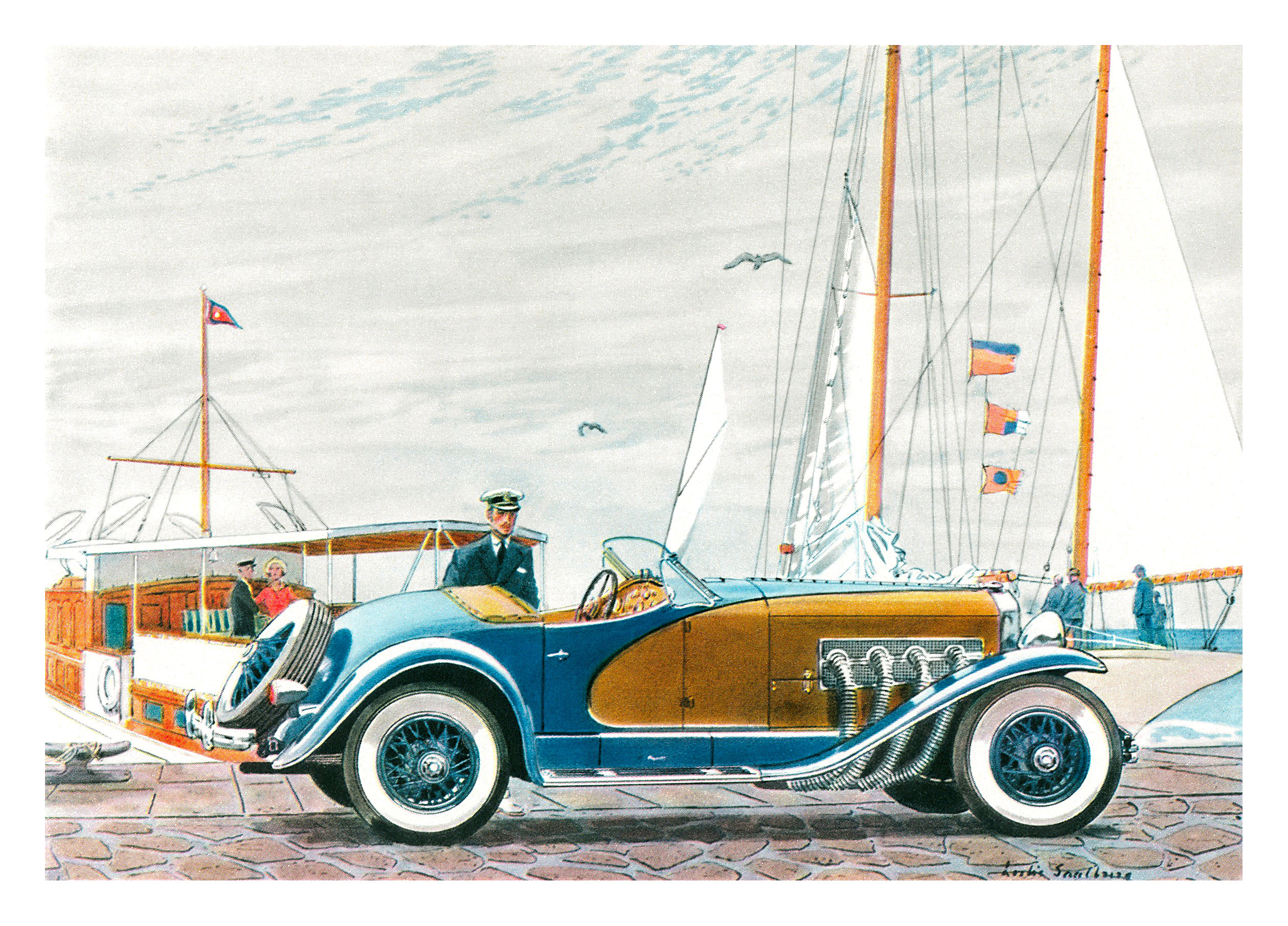 1936 Duesenberg SSJ Roadster - Illustrated by Leslie Saalburg