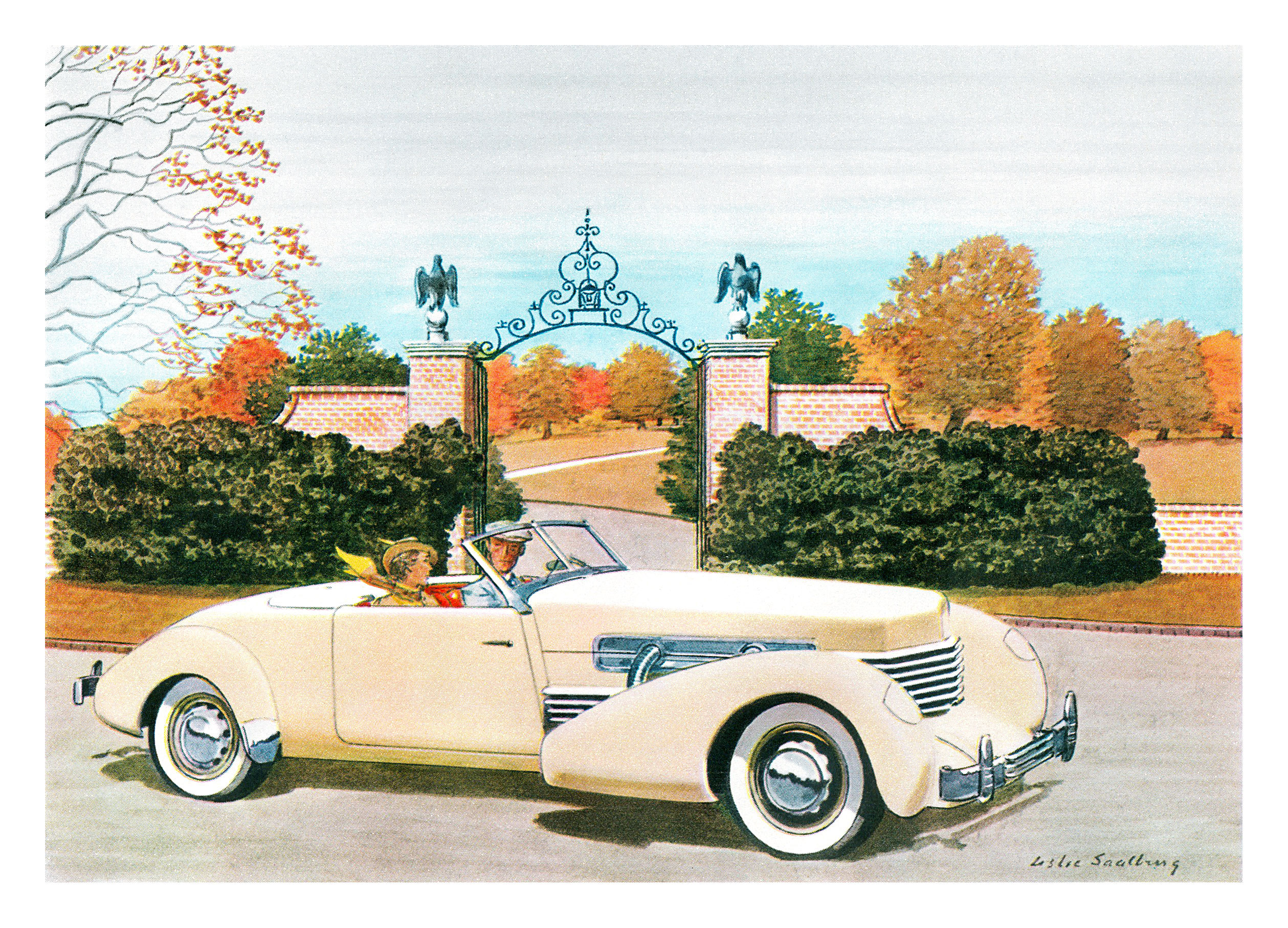 1937 Cord 812 Convertible Coupe - Illustrated by Leslie Saalburg