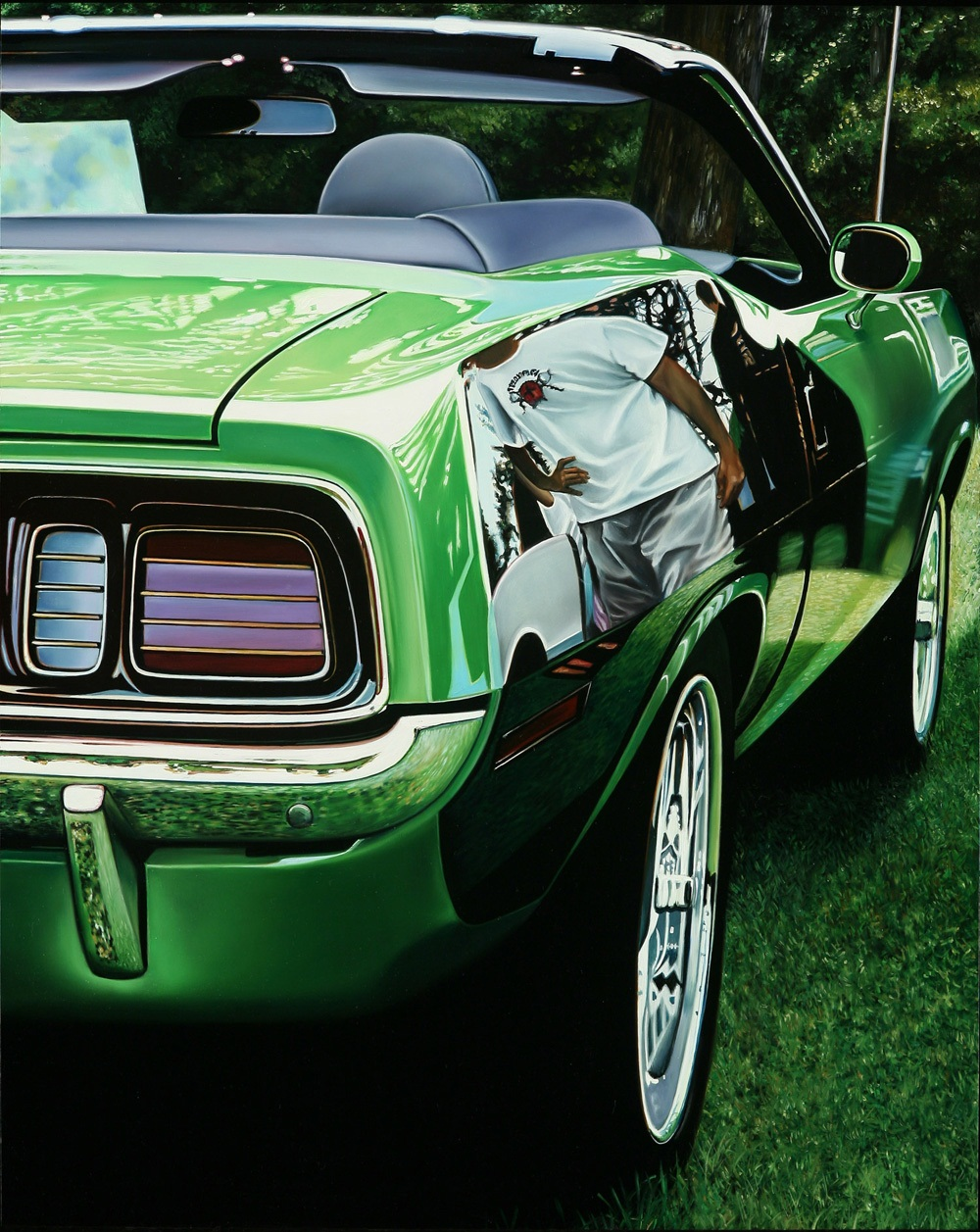 Classic-muscle-cars-paintings-by-Cheryl-Kelley-5-Green-HemiCuda (Копировать)