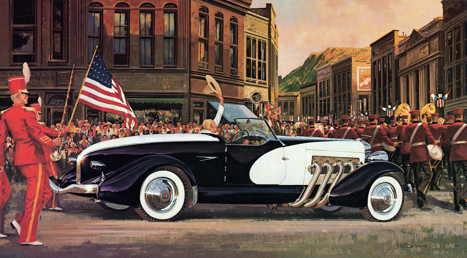 1933. Duesenberg SJ Speedster. Illustrated by James B. Deneen