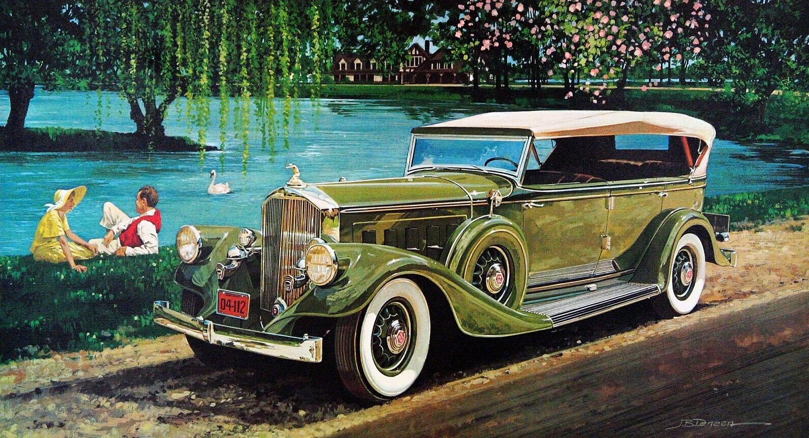 1933. Pierce Arrow Seven Passenger Touring Car. Illustrated by James B. Deneen