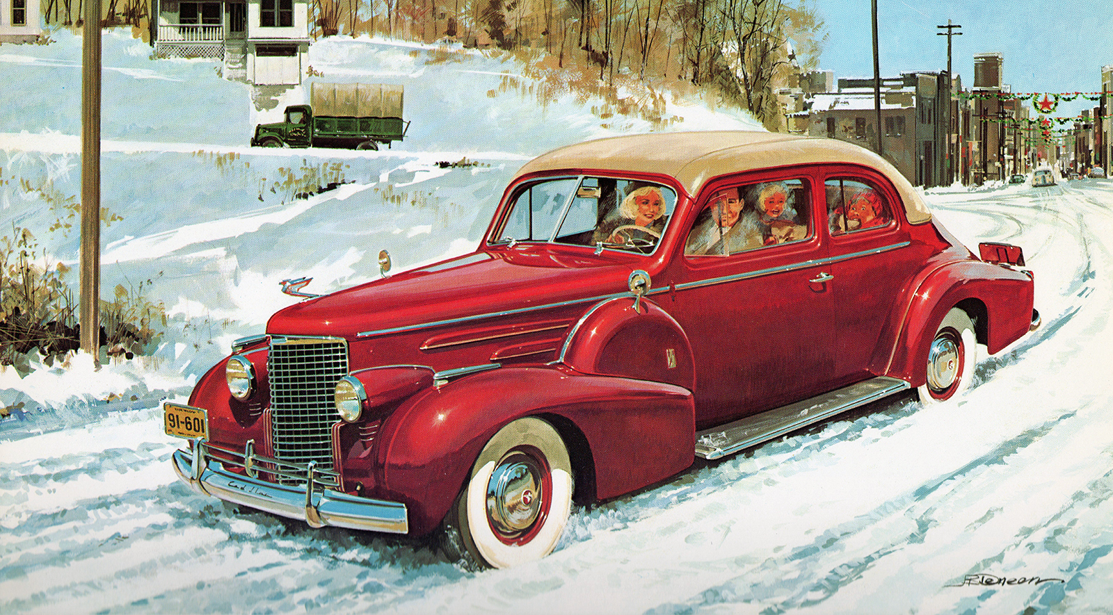 1940. Cadillac V-16 Derham body fastback coupe. Illustrated by James B. Deneen