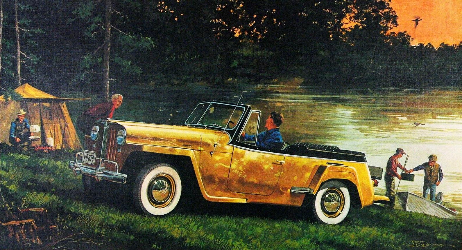 1948. Willys Overland Jeepster. Иллюстрация Джеймса Б. Денина
