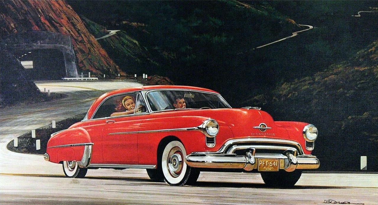 1950. Oldsmobile 88 Holiday Coupe. Illustrated by James B. Deneen