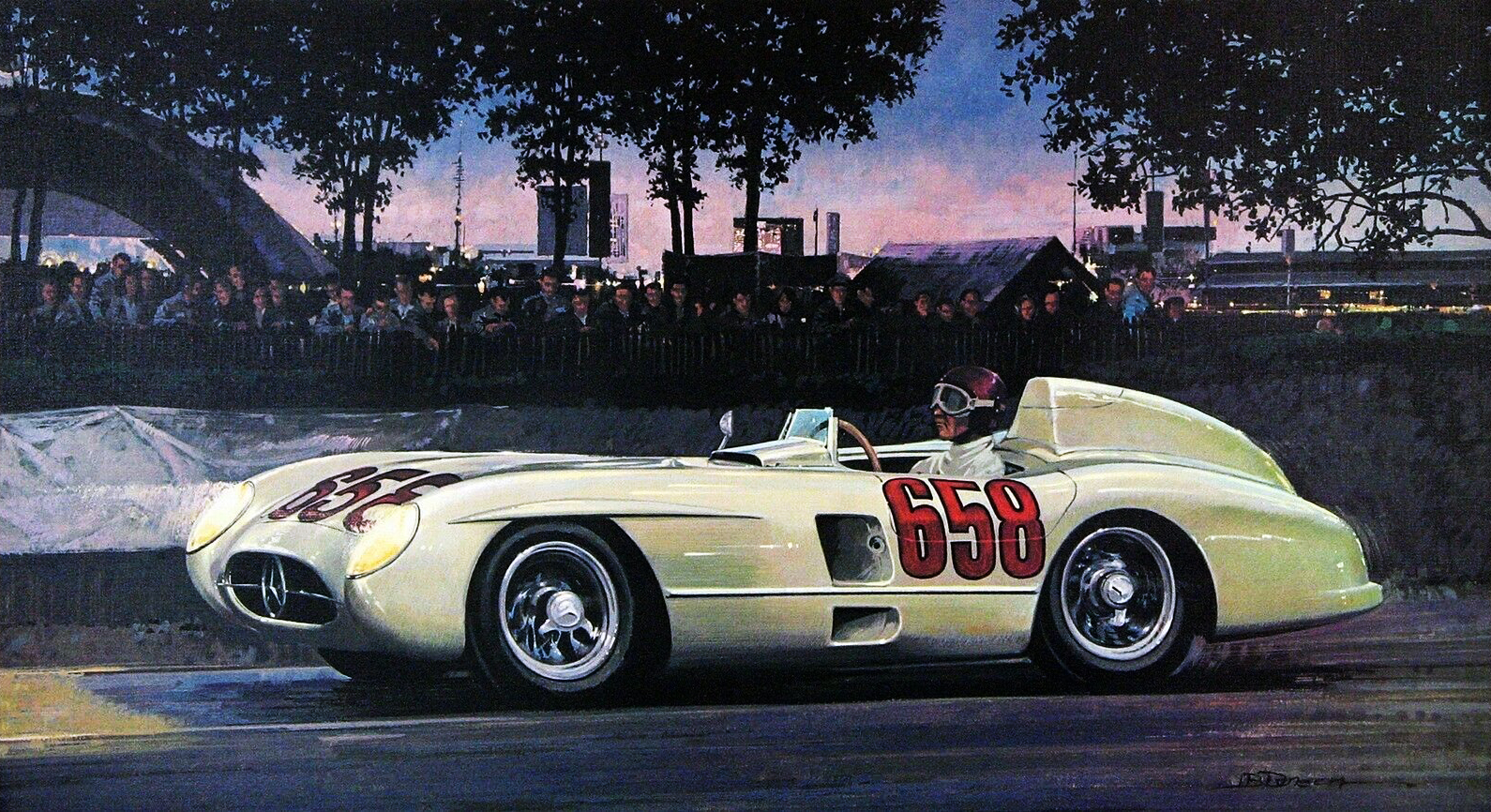 1955. Mercedes-Benz 300 SLR. Illustrated by James B. Deneen