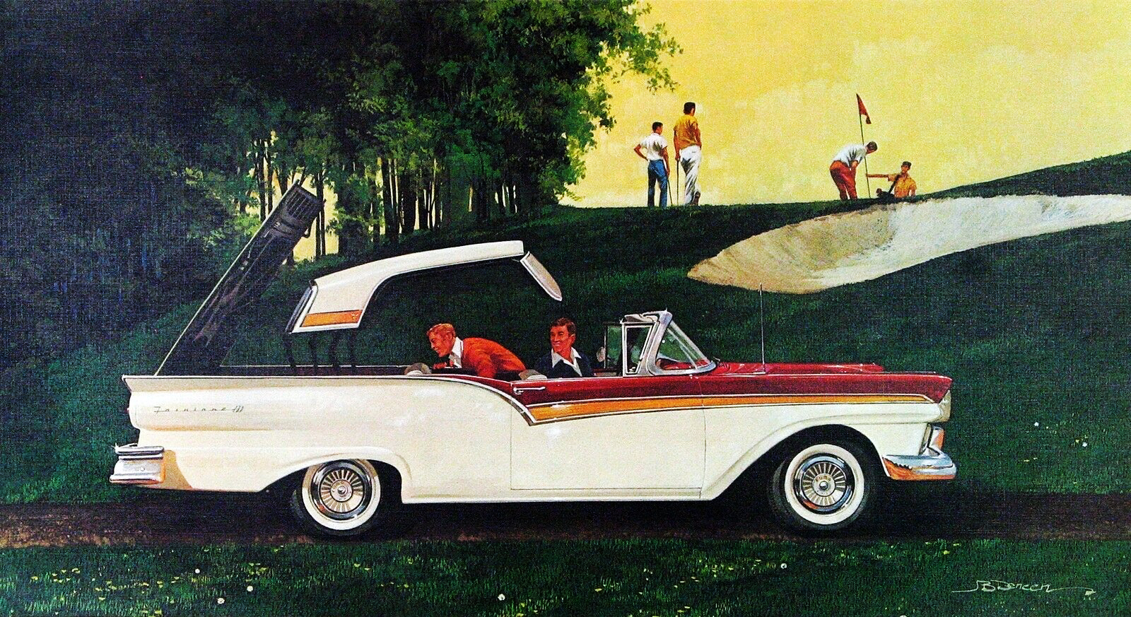 1957. Ford Skyliner. Illustrated by James B. Deneen