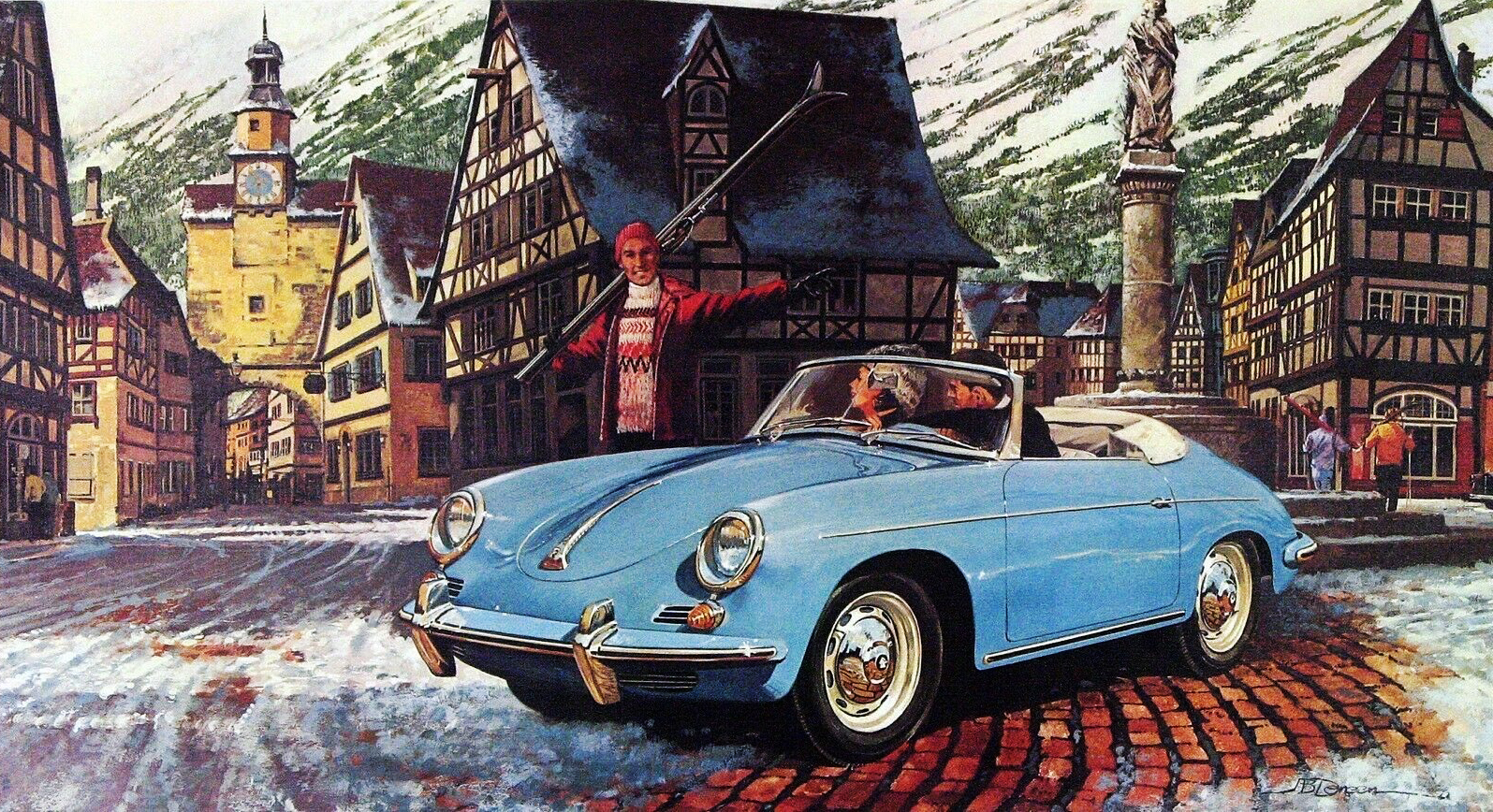 1961. Porsche Type 356B Roadster. Иллюстрация Джеймса Б. Денина