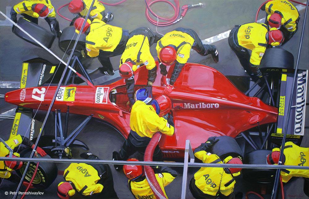 2016. Ferrari F1 pit stop. 110 х 170 см, масло, холст