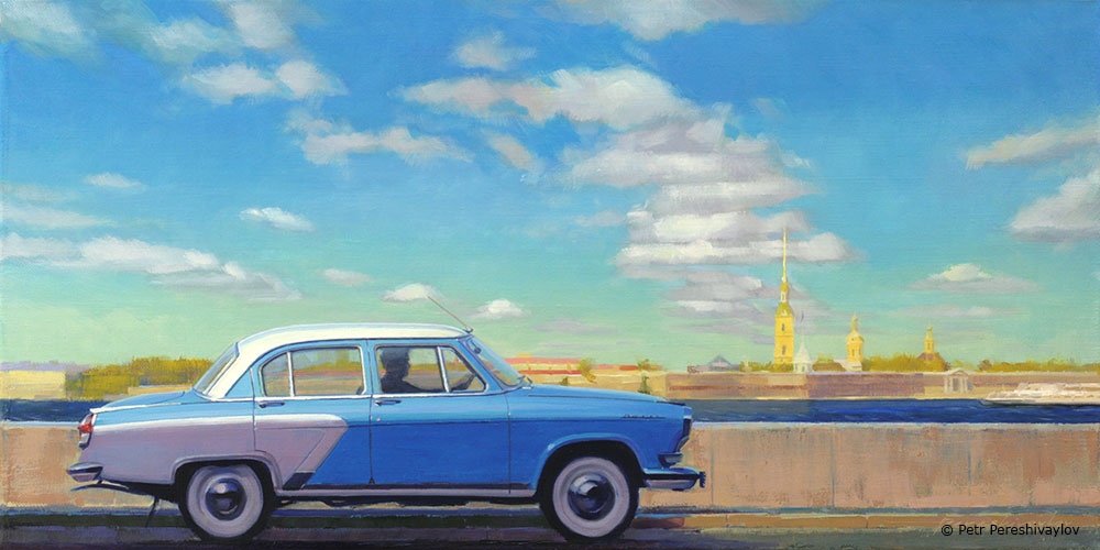 2018. Облака над Петропавловской крепостью. 40 х 80 см, масло, холст
