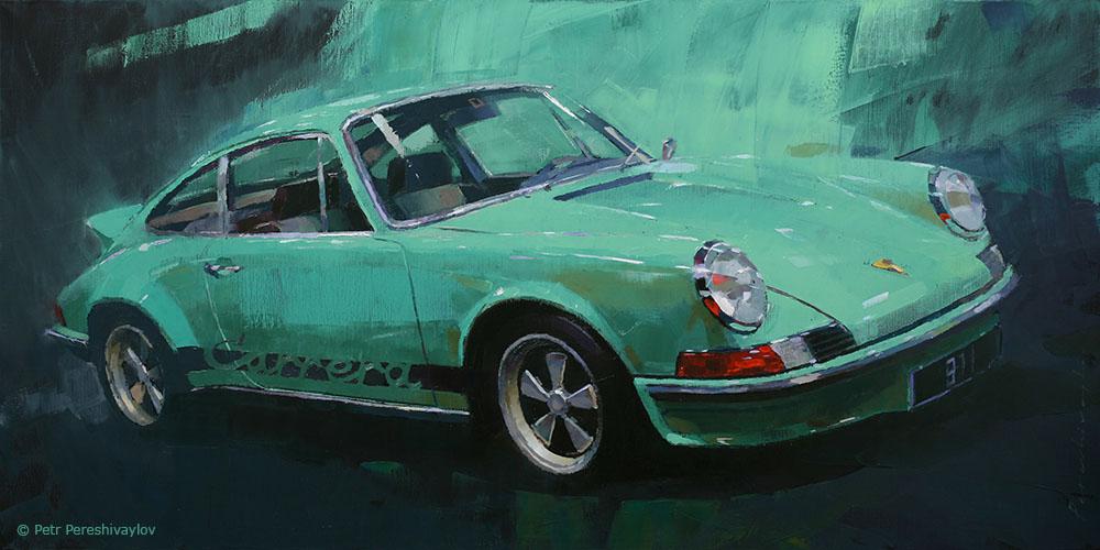 2020. Porsche 911 2,7 RS Touring 1973. 50 х 100 см, масло, холст