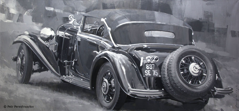 2021. Mercedes 500K Cabriolet A 1935. 70 х 150 см, масло, холст