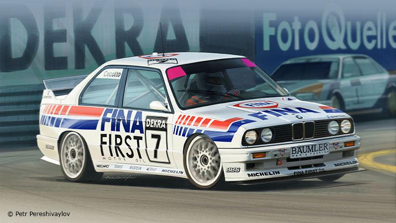 BMW M3 E30 FINA 1992. Бокс Арт для Beemax model kits